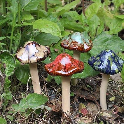 Superieur Tubwair 4pcs Ceramic Mushrooms Figurine Garden Decor Lawn Ornament Décor,  Garden Pots Decoration Pottery Ornament