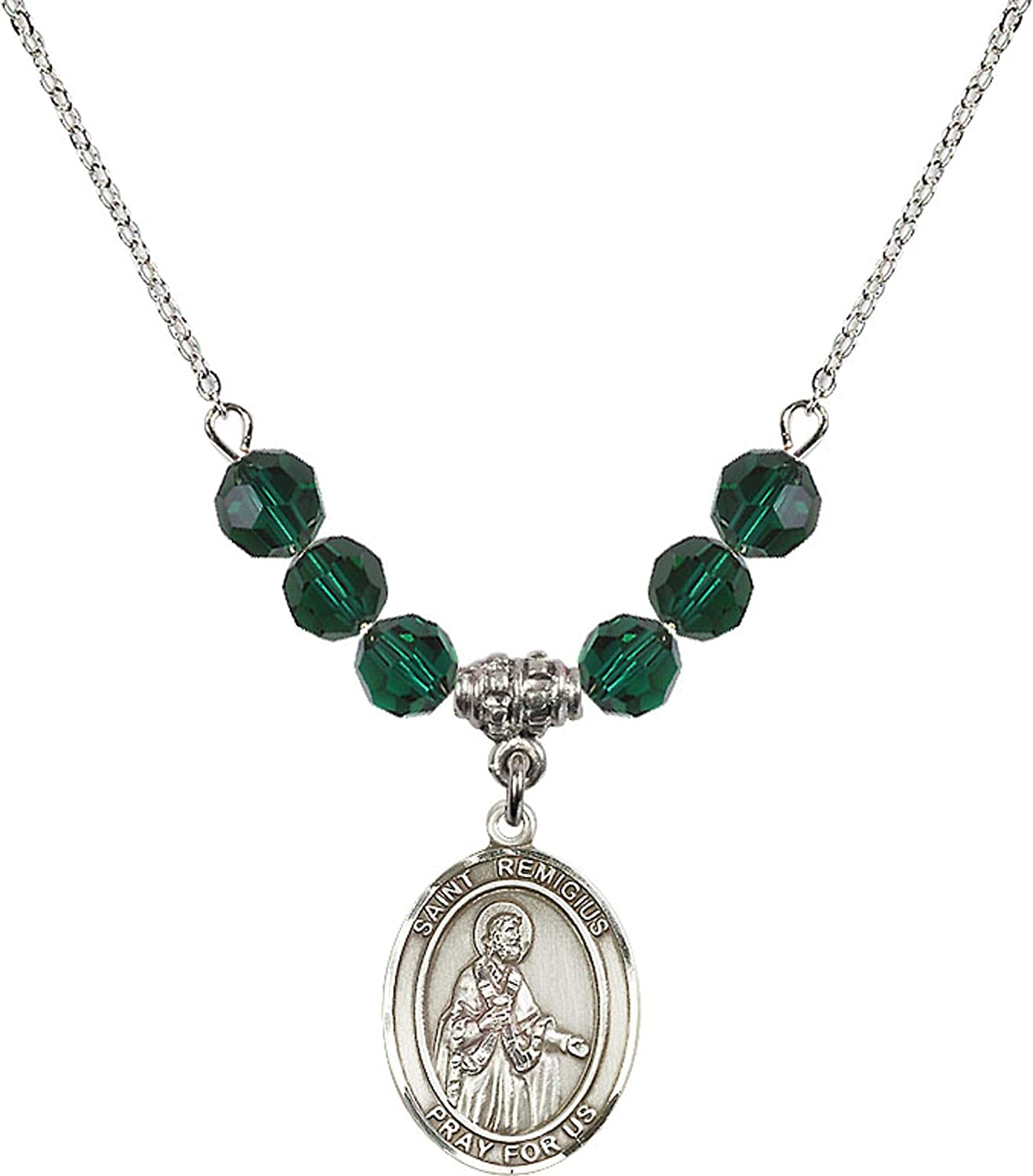 18-Inch Rhodium Plated Necklace with 4mm Faux-Pearl Beads and Sterling Silver Saint Remigius of Reims Charm.