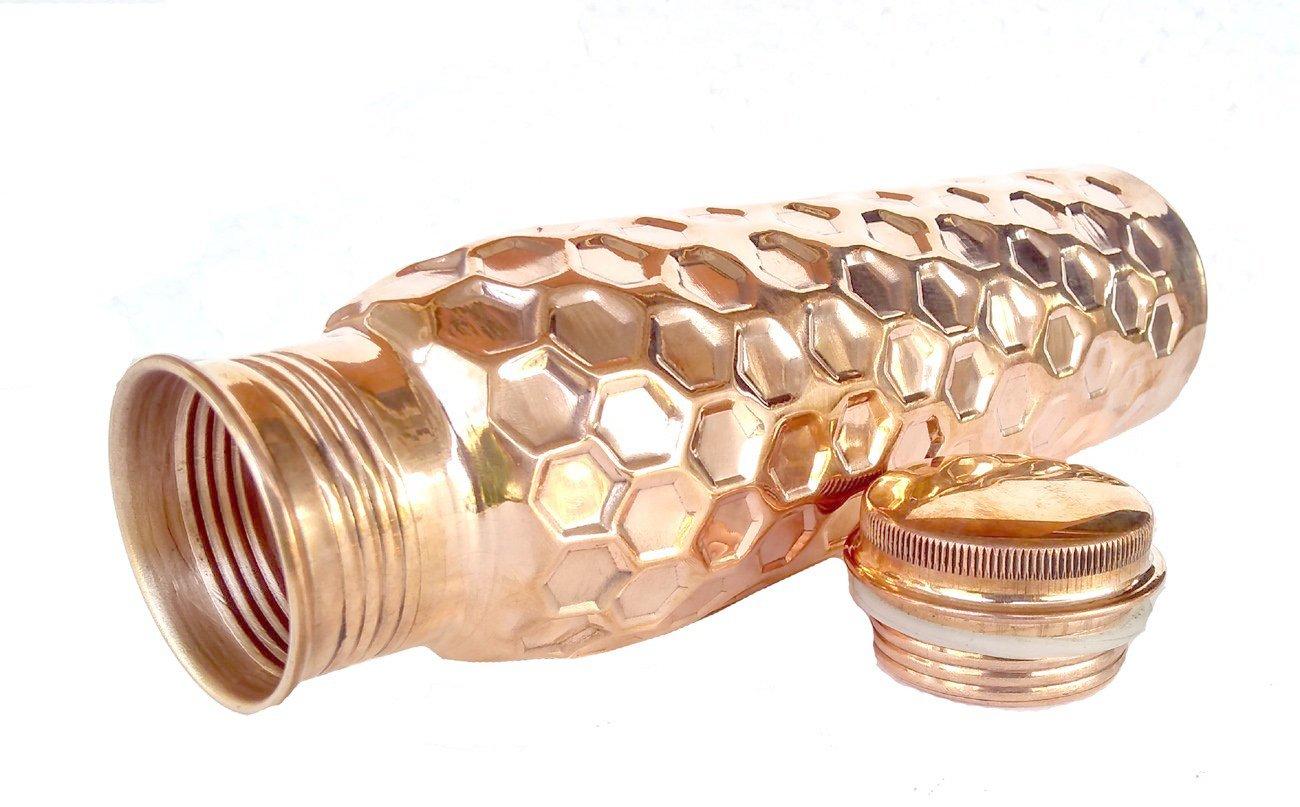 no Joint and Leak Proof Copper Pitcher Copper Vessel have Ayurvedic Health Benefits PARIJAT HANDICRAFT Pure Copper Water Bottle 20-OZ-Hammered-Bottle