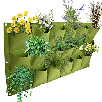 18 Pockets Vertical Planting Bag, Greening Hanging Wall Grow Plant Bags Pouch Container for Garden Vegetables Flowers 39.4x19.7in : Garden & Outdoor