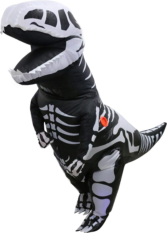 LOLANTA Disfraz de Dinosaurio Inflable de Esqueleto Gigante para niños T-Rex Blow up Fancy Dress