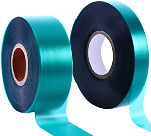 Boao 2 Rolls 150 Feet Stretch Tie Tape 0.5/1 Inch Garden Tie Tape Thick Plant Ribbon Garden Green Vinyl Stake for Indoor Outdoor Patio Plant Use