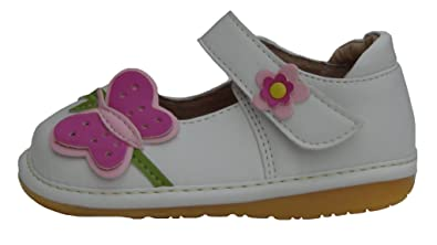 2db8cc25886 HappyKidShoes White Toddler Shoes Infant Girls Leather Squeaky Shoes With  Pink Butterfly UK Size 3 F