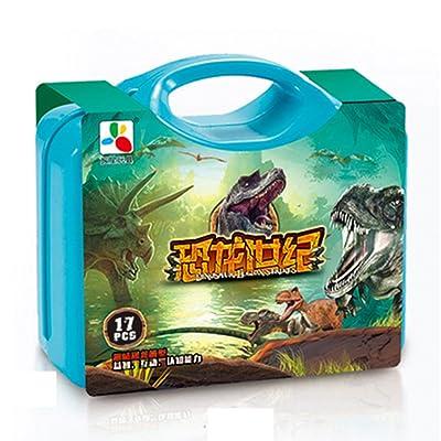 17 pcs tôt l'éducation enfants dinosaures dinosaures oeufs jouets écologique en plastique arbres avec base pour les enfants cadeau