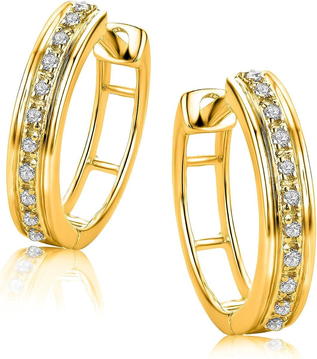 Orovi Pendientes Señora aros en Oro Amarillo con Diamantes Talla Brillante 0.06 ct Oro 9 Kt / 375