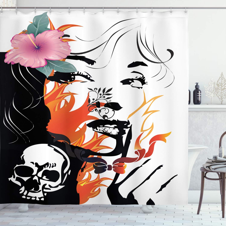 ABAKUHAUS Tatuaje Cortina de Baño, Flores De Rosa Y Cráneo, Tela ...