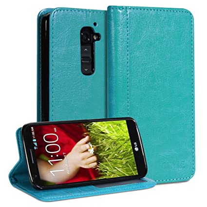best service 44b32 36324 LG G2 Case, GMYLE(R) Wallet Case Simple for LG G2 - Teal Crazy Horse  Pattern PU Leather Slim Wallet Case Flip Stand Cover