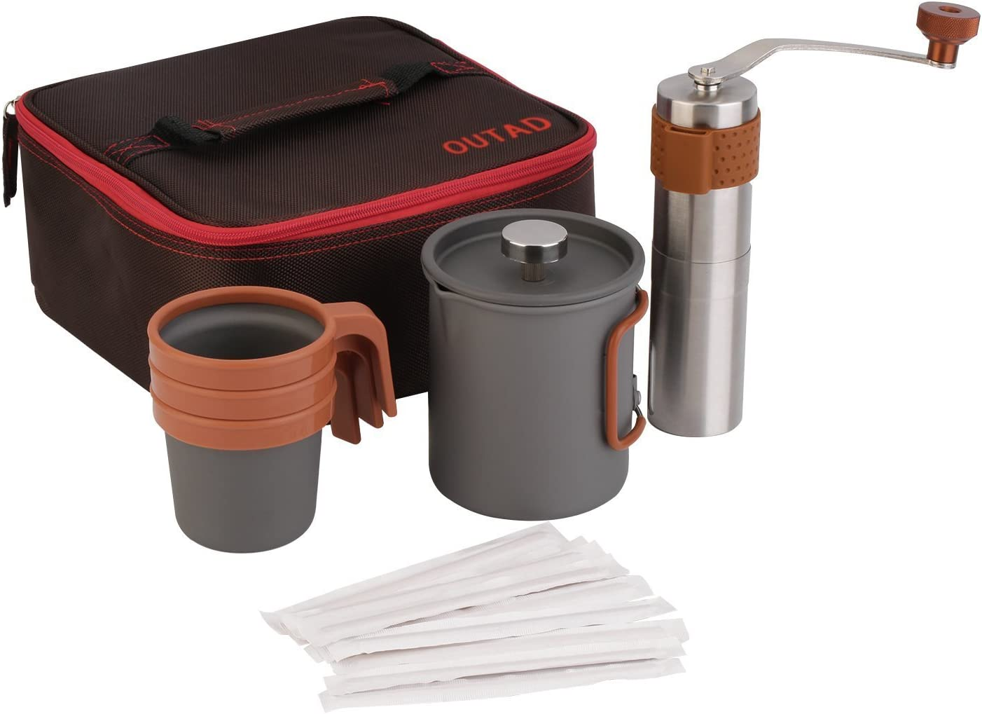 OUTAD Portable Coffee Maker Set 20fl.oz French Press Coffee Maker Manual Coffee Grinder 3 x 10fl.oz Mugs Carry Bag
