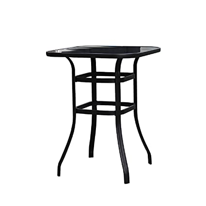 Amazon.com: LOKATSE HOME Outdoor Bistro Bar Height Table Metal Frame Square  Tempered Furniture Glass Top All Weather For Patio, Black: Garden U0026 Outdoor