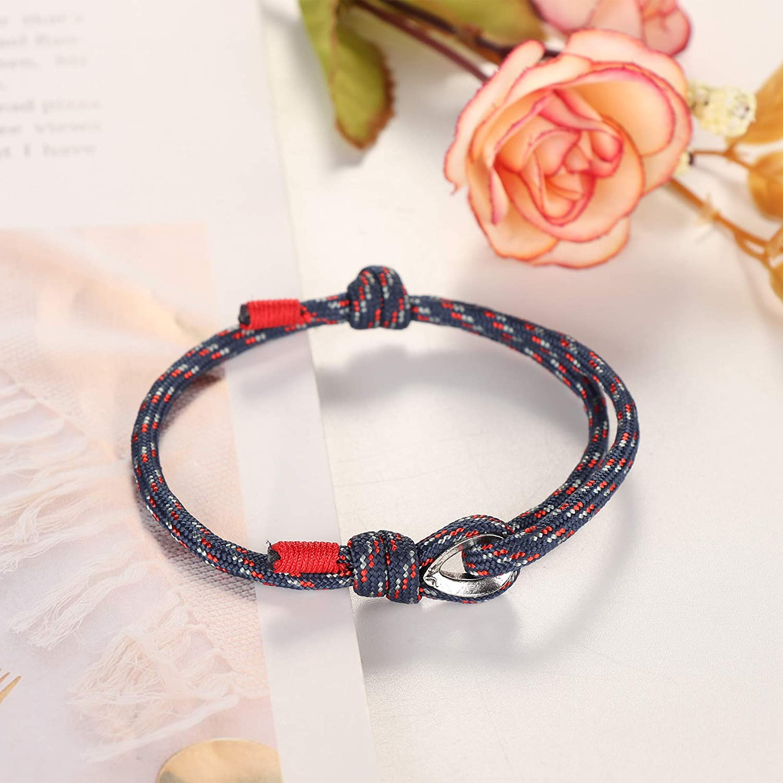 sailimue 5 Pcs Nautique Corde Bracelets pour Homme Femme Bracelets Tresse Ensemble Marin Surf Bracelet R/églables