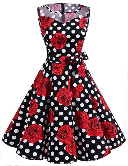 Dresstells Vestito Donna 1950 Vintage con Allacciatura al Collo di Cocktail   Amazon.it  Abbigliamento 1ff04b1af0e