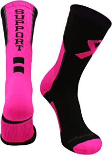 product image for MadSportsStuff Pink Ribbon Breast Cancer Awareness Support Athletic Crew Socks