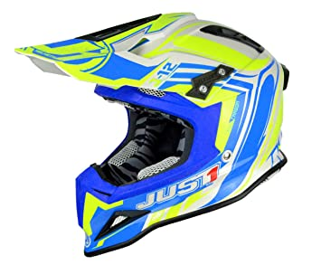 Just 1 Helmets J12 Casco de Motocross, Amarillo/Azul, ...