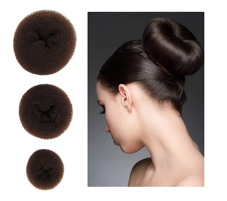 3 pcs Donut Bun Hair Styling Making Tool Chignon Maker 1 Large,1 Medium,1 Small