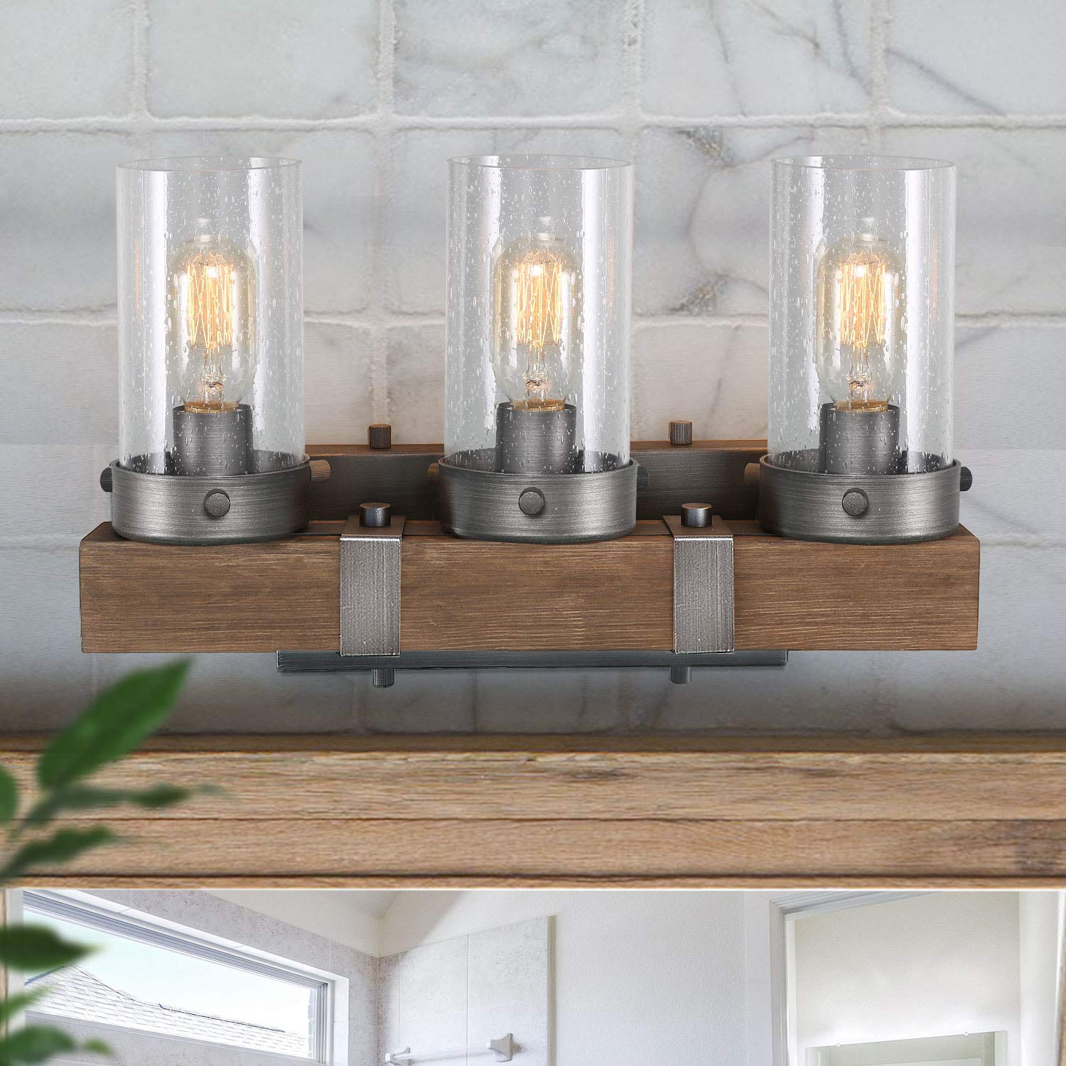 LOG BARN Bathroom Vanity Light, Farmhouse Lighting Fixture 3 Lights in Wood and Cylindrical Bubbled Glass