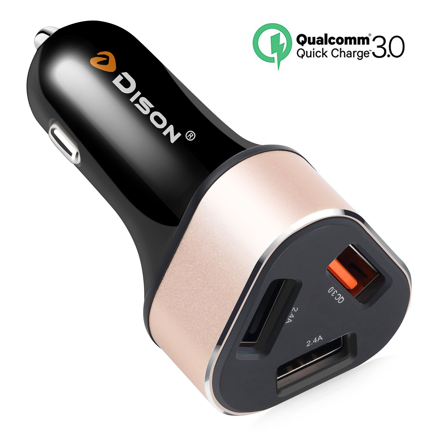 Amazon.com: Quick Charge 3.0 Car Charger Adapter, Dison 42 W Car Charger with QC 3.0 and 5V/2.4A Dual Smart Port for iPhone X / 8 / 7 / Plus, ...
