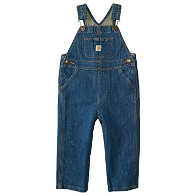 68826a1ff0a17 Carhartt Kid's CM8665 Washed Denim Bib Overall - Boys - 2 Toddler - Medium  Wash