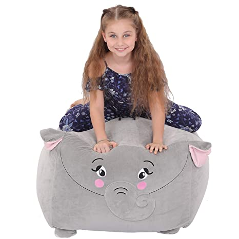 Cool Youngeyee Giant Elephant Stuffed Animal Storage Kids Bean Bag Chair Cover 24X24X20 Inches Velvet Toy Organization Storage Zipper Bags For Plush Toy Ibusinesslaw Wood Chair Design Ideas Ibusinesslaworg