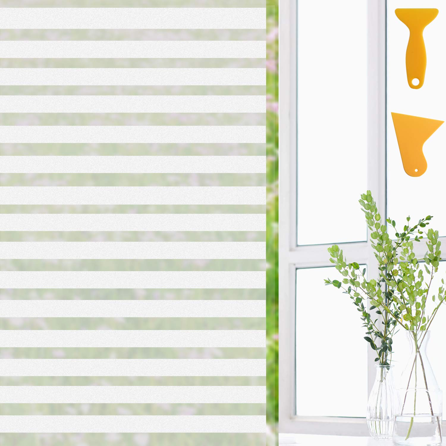 Defrsk Privacy Window Film Static Cling Stripe Pattern Frosted Window Film UV Protection Window Sticker Heat Reflective Self adhesive For Office Bathroom Living Room Kitchen Home Decoration 45 * 400cm with 2 Film Tools