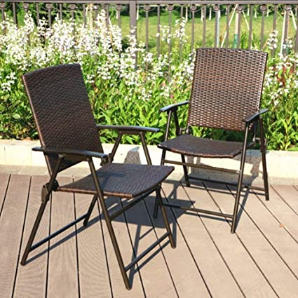 PHI VILLA Patio Rattan Folding Chair Indoor Outdoor Wicker Chair, 2 Pack