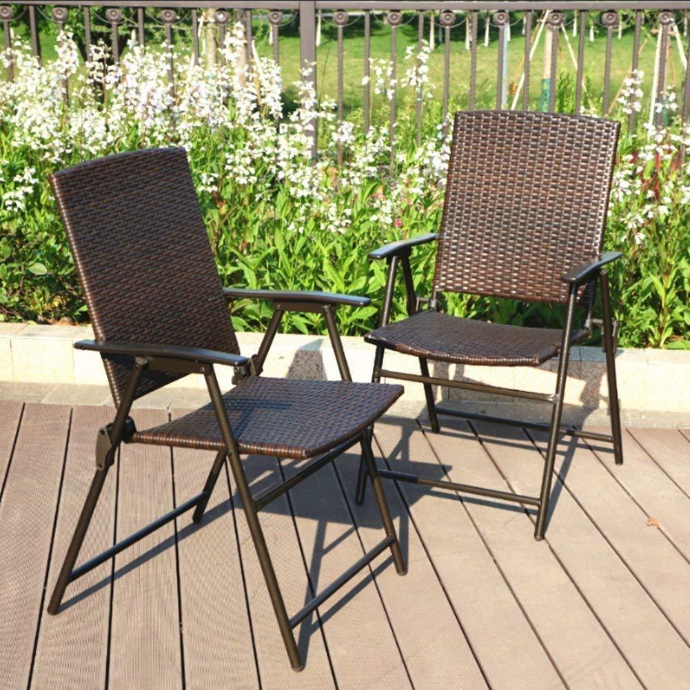 PHI VILLA Patio Rattan Folding Chair Indoor Outdoor Wicker Chair, 2 Pack