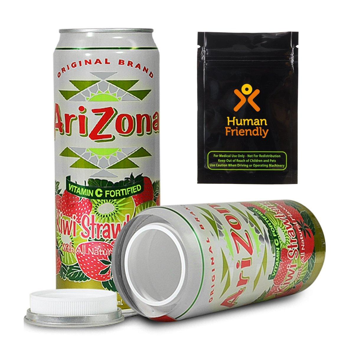 Arizona Kiwi Strawberry DiversionセーフStash Can 23オンスW humanfriendly smell-proofバッグ B0753KM4HW
