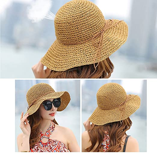 1adb8930be1ea BESTOYARD Women s Foldable Brim Caps Summer Beach Sun Straw Hats ...