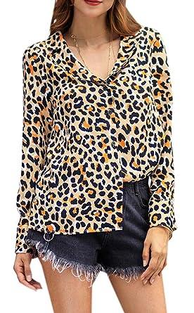 85271469b762df YYG Women's Long Sleeve V Neck Leopard Print Work Dress Chiffon Blouse Shirt  Top at Amazon Women's Clothing store: