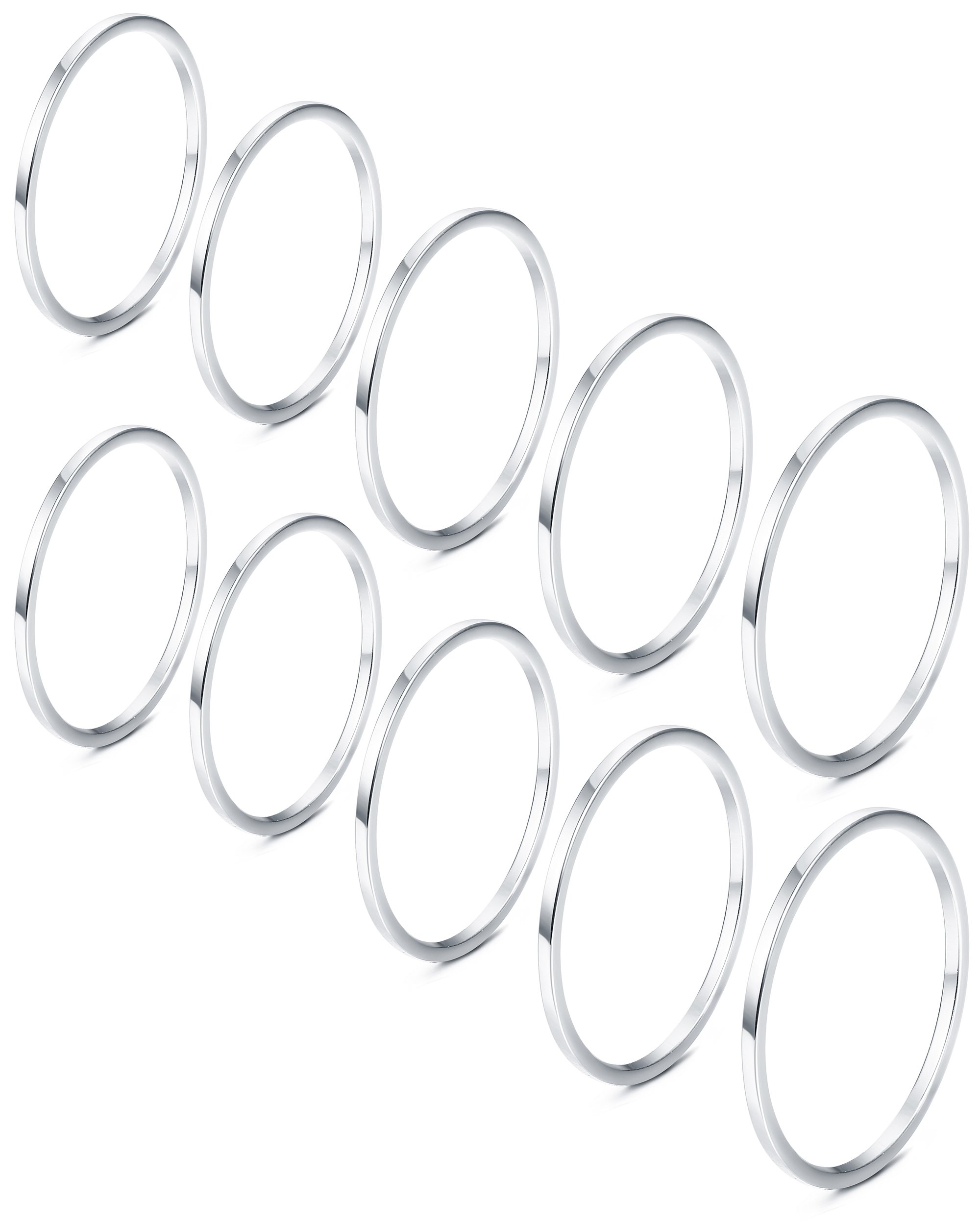 JOERICA 10Pcs Stainless Steel Women's Band Knuckle Stacking Midi Ring Silver-tone