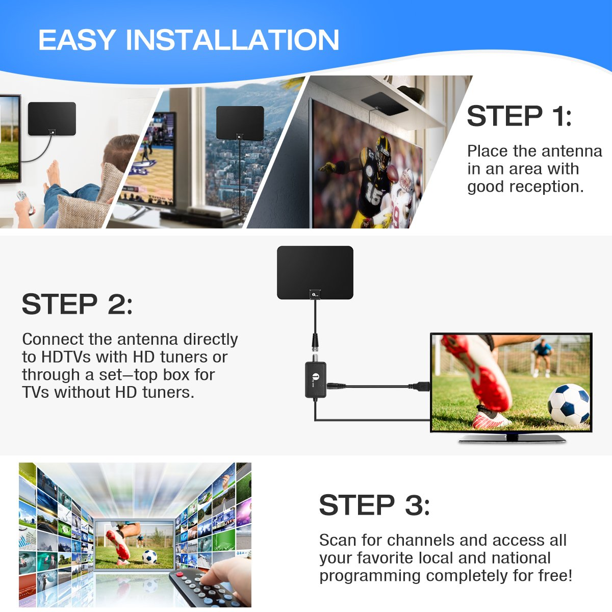 1byone Amplified HDTV Antenna, with Detachable