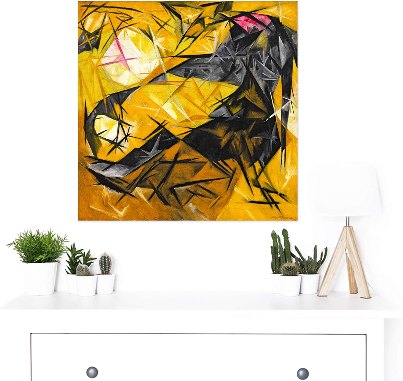 Goncharova Cats Rayonist Perception Painting Large Wall Art Print Square 24X24