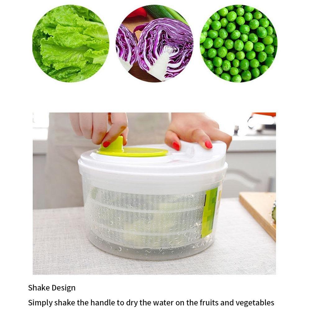 f/ácil Giro para ensaladas tidystore Frutas y Verduras Secadora Manual Desag/üe de Agua Ensalada Spinner Keeper Shaker Lavadora mezcladora con manivela y Tapa de Cierre