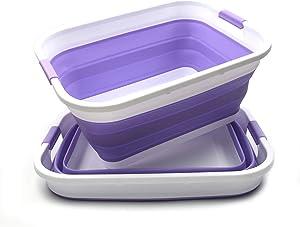 SAMMART Set of 2 Collapsible Plastic Laundry Basket - Foldable Pop Up Storage Container/Organizer - Portable Washing Tub - Space Saving Hamper/Basket (2 Rectangular, Lt. Purple)