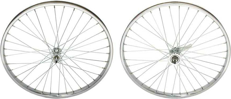 "Beach Cruiser bike 26/""x1.75 Wheels 68 spokes SILVER Front Rear w coaster brake"