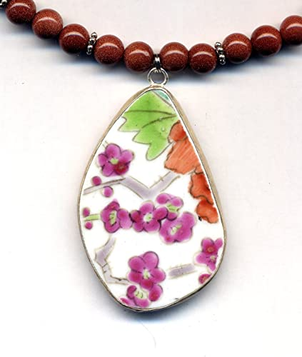 cameo floral pendant necklace simple beaded jewellery made with reclaimed materials statement necklace