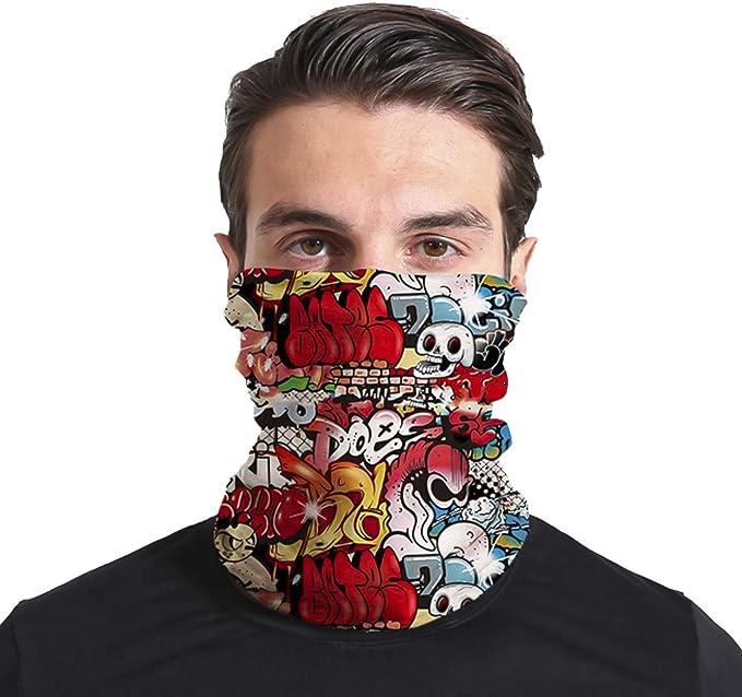 Triv Colorful Seamless Bandana Neck Gaiter Cloth Face Mask Washable Reusable Balaclava Face Cover (Graffiti) at Amazon Men's Clothing store