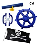 Blue Kids Climbing Frame Accessory Bundle Telescope, Pirate Wheel and Climbing Handles also Suitable for Tree Houses, Childrens Play Houses and Dens