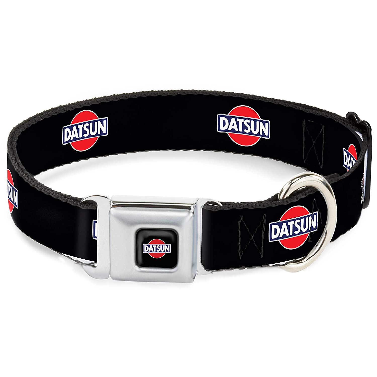 Classic Datsun Logo Black Red bluee White 1.5\ Classic Datsun Logo Black Red bluee White 1.5\ Buckle-Down DC-WDA001-WS Dog Collar Seatbelt Buckle, Classic Datsun Logo Black Red bluee White, 1.5  by 13-18