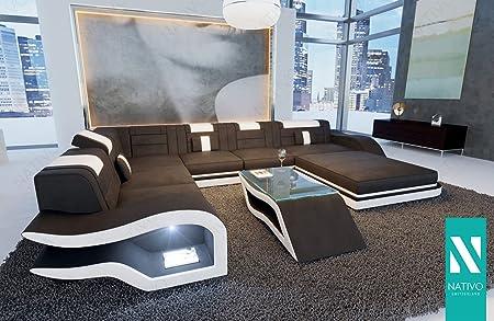 Nativo MIX LEDERSOFA DESIGNER SOFA HERMES XXL MIT LED BELEUCHTUNG Sofa  Couch Wohnlandschaft