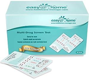 10 Pack Easy@Home 5 Panel Instant Drug Test Kits - Testing Marijuana (THC), COC, OPI 2000, AMP, BZO - Urine Dip Drug Testing - #EDOAP-754