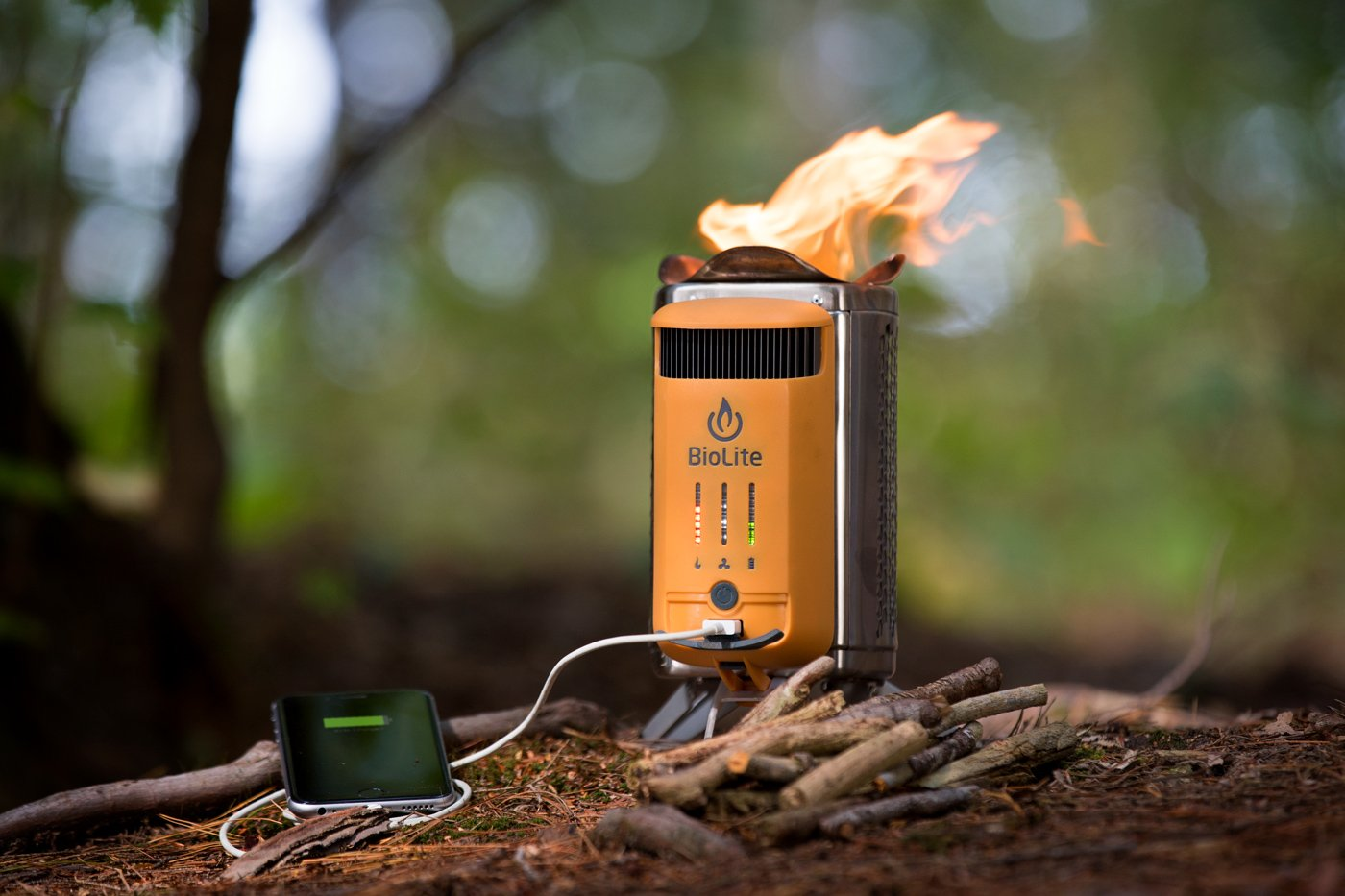 BioLite CampStove 2- Wood-Burning Small Lightweight Stove, USB FlexLight, Fire Starter, Generates 3W of Electricity for USB Charging Using Excess Heat, 5 x 5 x 8.3 Inches, Silver/Yellow (CSC1001) by BioLite (Image #5)