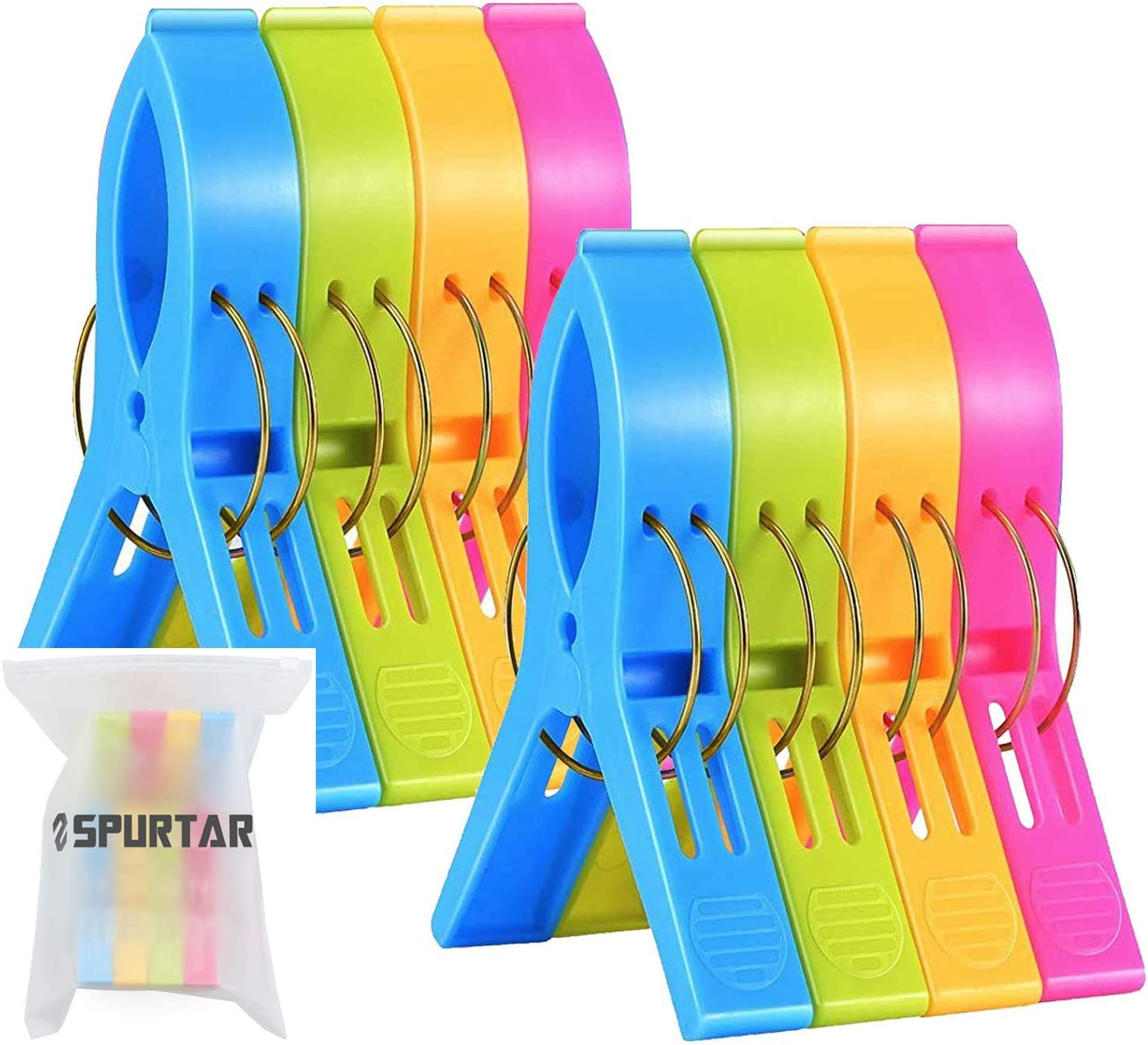 Spurtar Beach Towel Clips (8 Pack) Beach Chair Clothes Pegs, Large Size Beach Chair Towel Clips