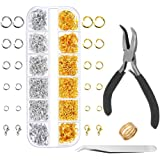 Anezus Jump Rings for Jewelry Making Supplies and Necklace Repair with Jump Ring Pliers and Open Jump Ring(1200Pcs Silver and