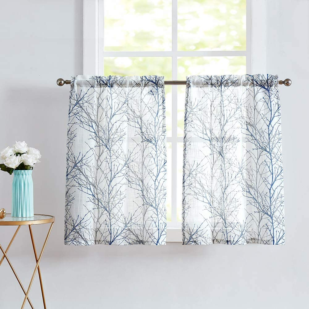 "Fmfunctex Blue Kitchen Curtains 112"" Grey Tree Print on White Tier Curtain  Set for Small Windows Basement Room Bathroom, 12 Panels"