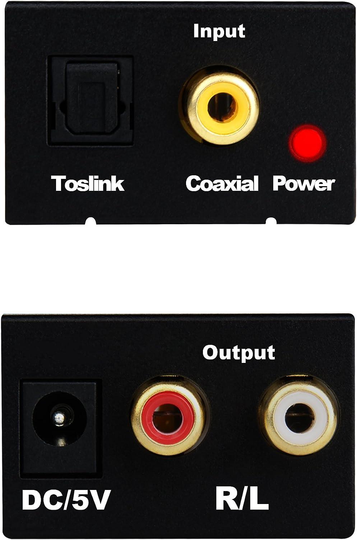 Tiancai Convertidor Digital a Analógico DAC a Analógico Audio Estéreo L/R RCA Audio Jack de 3.5mm de Salida Compatible con Cable óptico Toslink para PS3 HD DVD PS4 Sky HD BLU-Ray Home