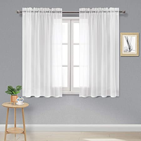 Amazon.com: DWCN White Sheer Curtains Semi Transparent Voile Rod