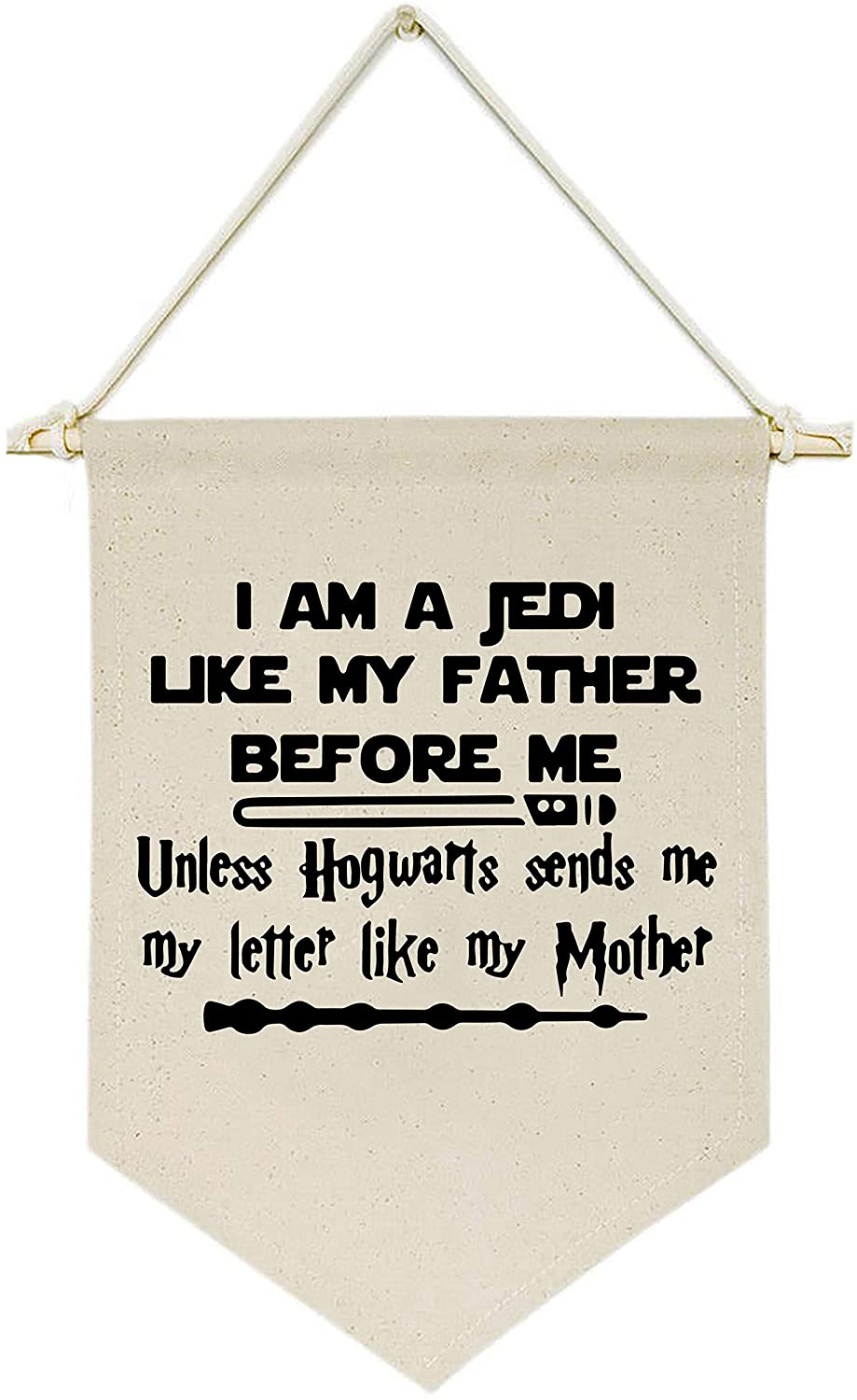 Topthink I Am A Jedi Like My Father Before Me -Canvas Hanging Flag Banner Wall Sign Decor Gift for Baby Kids Boy Nursery Teen Room Front Door - Star Wars Harry Potter Quotes