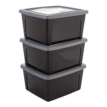 2er Pack Kunststoffbox mit Deckel 40L schwarz Aufbewahrungskiste Plastikbehälter