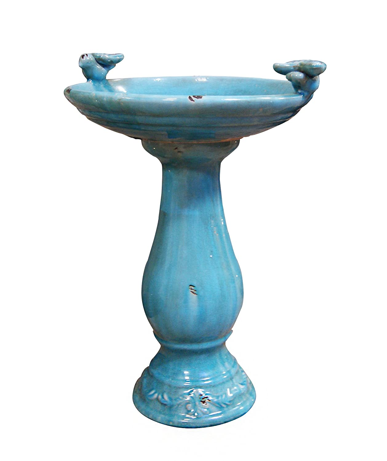 Alpine TLR102TUR 24-Inch Antique Ceramic Birdbath with Birds-Turquoise