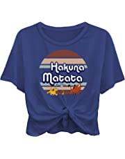 Disney Ladies Lion King Fashion Shirt - Ladies Classic Hakuna Matata Clothing Lion King Logo Tie Front Short Sleeve Tee